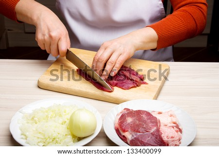 Closeup of woman hands cutting beef on cutting board. - stock photo