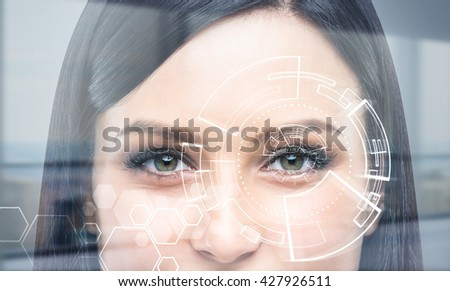 Closeup of woman's face with digital pattern