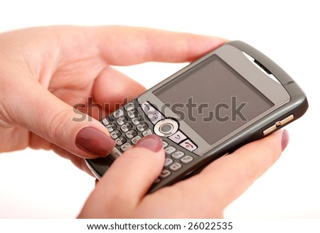 Closeup of woman with smartphone - stock photo