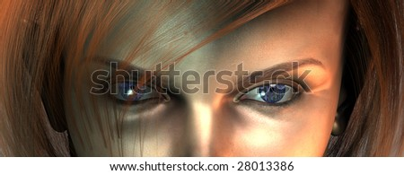 Closeup of womans face reveals circuit board eyes - stock photo