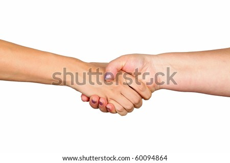 Closeup of women shaking hands on white background
