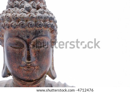 Closeup of  wood Buddha statue - stock photo