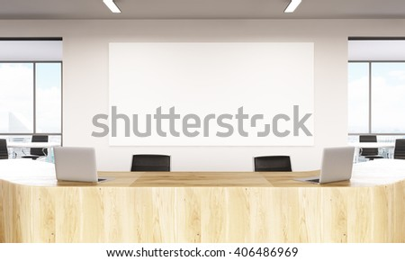 Closeup Of Wooden Reception And Blank Board Mock Up 3D Rendering