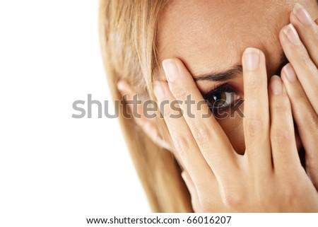 closeup of worried caucasian woman on white background. Horizontal shape, headshot - stock photo