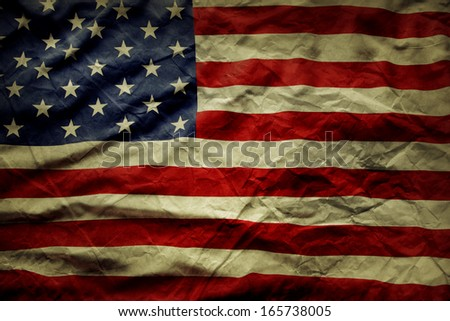 Closeup of wrinkled American flag - stock photo