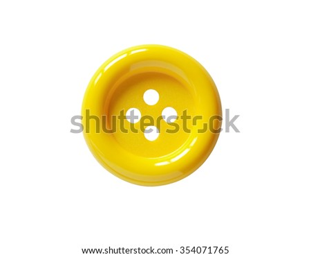 Closeup of yellow button on white background. Clipping path is included - stock photo