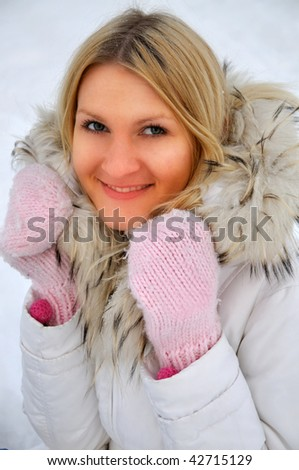 closeup of young beautiful woman - stock photo