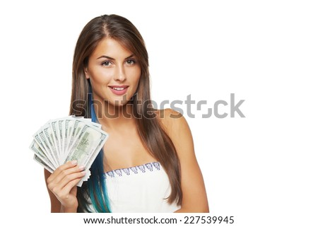 Closeup of young beautiful woman with us dollar money in hand over white background, with copy space - stock photo