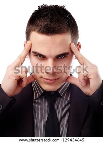 Closeup of young man thinking hard, isolated on white background - stock photo