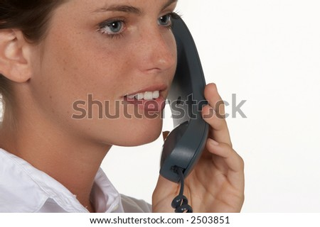 Closeup of Young Woman with Phone - stock photo