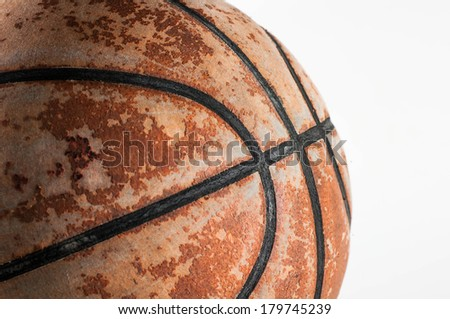 Closeup Old Basketball on white background  - stock photo