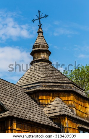 closeup old wooden christian church roof - stock photo