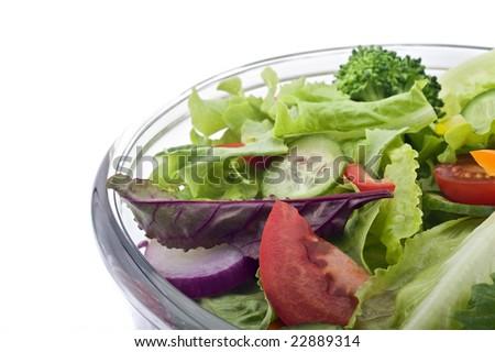 closeup on a fresh salad bowl. - stock photo
