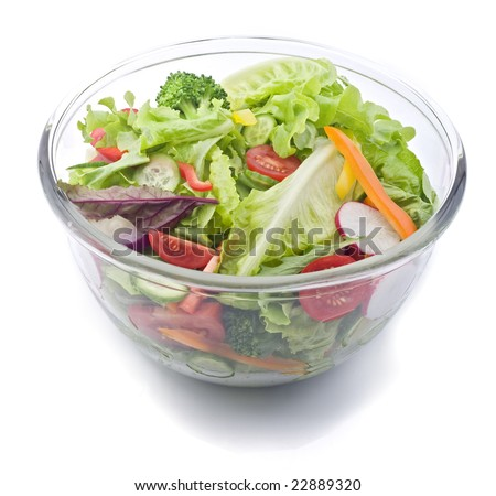 closeup on a fresh salad bowl. - stock photo