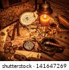 Closeup on beautiful buccaneer treasure background, luxury pirates alcohol drink, cigars, compass, pearl beads, drawing map, piracy lifestyle concept - stock photo