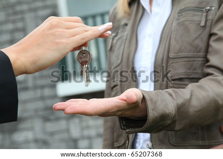closeup on bunch of home keys - stock photo