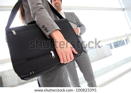 Closeup on business briefcase - stock photo
