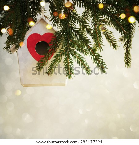 Closeup on Christmas  decoration over bokeh background - stock photo