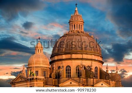 Closeup on church of St. John in Xewkija, Gozo, Malta - stock photo