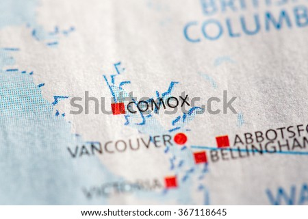 Closeup on Comox, British Columbia on a map of Canada. - stock photo