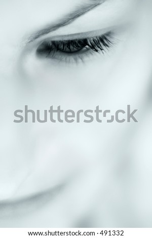 Closeup on eye - stock photo