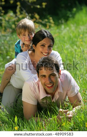 Closeup on family in a park