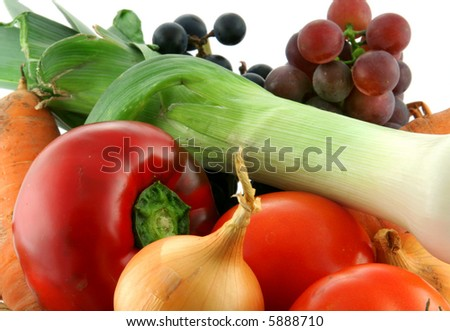 closeup on fresh vegetables and fruit - stock photo