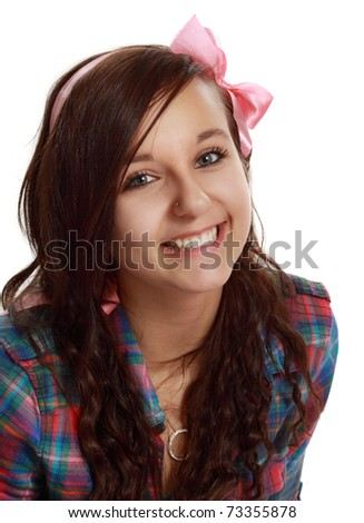 closeup on happy teen girl isolated on white - stock photo