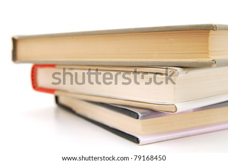 closeup on literature books - stock photo