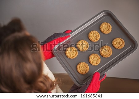 Closeup on pan with christmas cookies in hand of young housewife