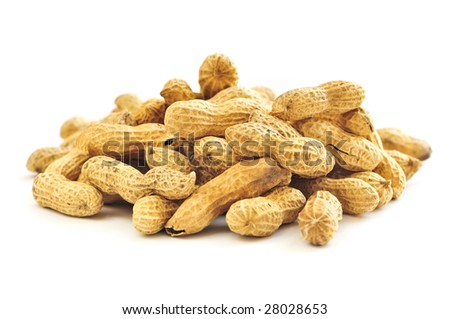 Closeup on pile of peanuts with shells