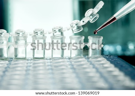 Closeup on plastic tubes for DNA amplification - stock photo
