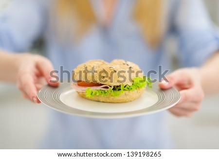 Closeup on plate with sandwich in hand of young woman