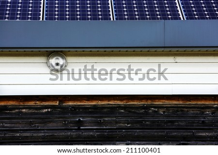 Closeup on Solar panel on a low-energy house consumption - stock photo