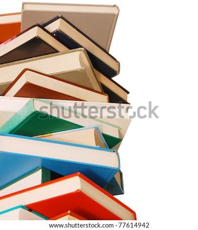 closeup on textbooks pile - stock photo