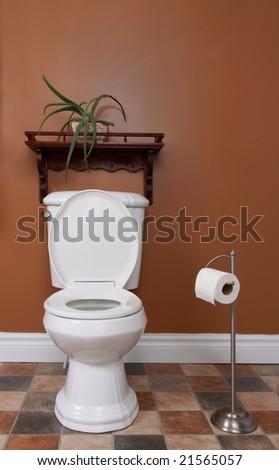 closeup on toilet in brown bathroom - stock photo