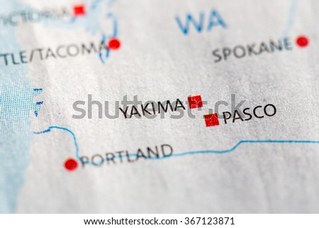 Closeup On Pasco Washington On Map Stock Photo 367118669