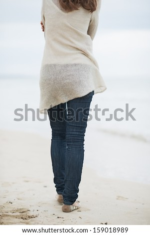 Closeup on young woman in sweater walking on lonely beach . rear view