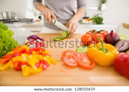Closeup on young woman slicing vegetables - stock photo