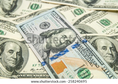 closeup One hundred usa dollars pile as background