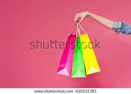 closeup or picture of multi colored shopping bags