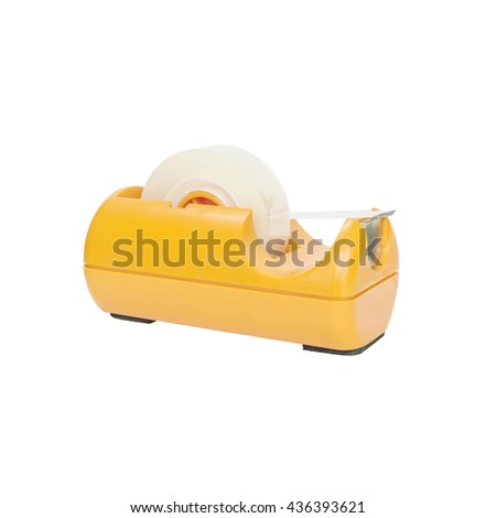 Closeup orange adhesive tape cutter , office Equipment isolated on white background with clipping path - stock photo