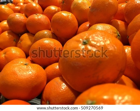 Closeup orange in market