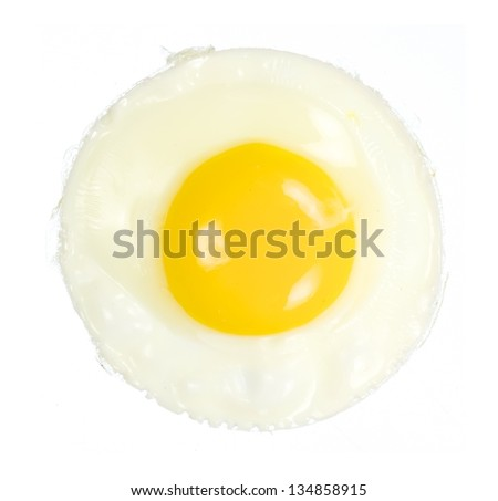 Closeup overview of fried egg isolated on white