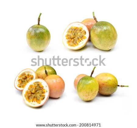 closeup passionfruit on white background - stock photo