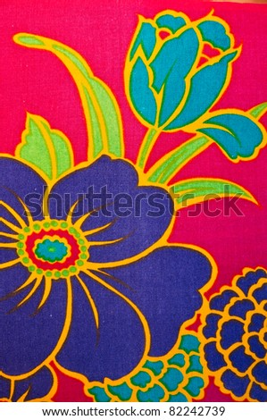closeup pattern texture of general traditional thai style native handmade batic fabric weave - stock photo