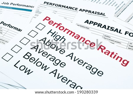 closeup performance rating and appraisal form, evaluation and assessment concept for business - stock photo