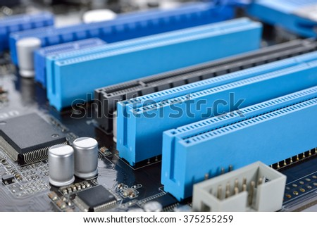 closeup Peripheral Component Interconnection mainboard