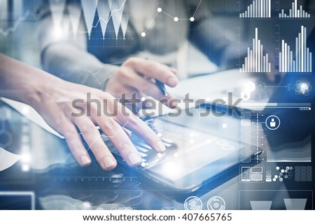 Closeup photo female hands touching screen modern tablet. Finance team working new investment project in office.Using electronic devices. Graphics icons, stock exchanges interface. Horizontal - stock photo