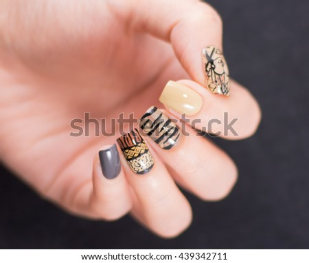 Closeup photo of a beautiful female hands - stock photo